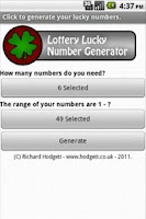 Screenshot of Lottery Lucky Number Generator