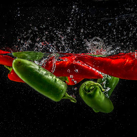 Pepper Dance by Troy Wheatley - Food & Drink Fruits & Vegetables ( water, red, splash, jalapeno, green, chili peppers )