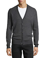 Vince V-Neck Striped Button-Down Sweater, Charcoal - (XL)