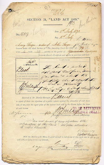 Lucy's application to purchase the Lynchfield allotment.  Forms like this one were used to record the process of granting permission to purchase or 'alienate' Crown land. PROV, VPRS 627/P0 Land Selection Files, unit 174, item 15159/31