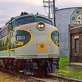 Southern Serves the South 01 by Jeff Stallard - Transportation Trains ( diesel, southern, engine, train, spencer, water tower, north carolina )