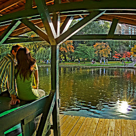 The Kiss by Jeff Stallard - People Couples ( kiss, boston, couple, public garden, massachusetts, people )