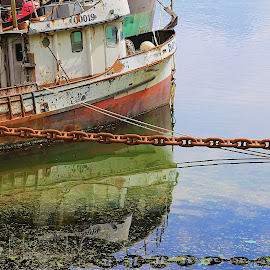 Last tie up by Jack Molan - Transportation Boats ( water, color, green, wreck, chains, glass, boat, scrapyard, jusk )