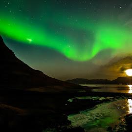 Kirkjufell Aurora by Mark Franks - Landscapes Travel ( water, kirkjufell, iceland, moon, reflection, nature, aurora borealis, kirkufellfoss, star )