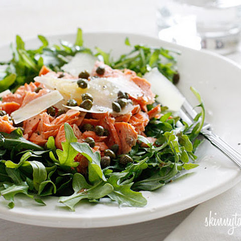 Arugula Salmon Salad with Capers and Shaved Parmesan