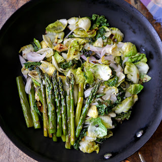 Brussels Sprouts Salad with Kale and Asparagus