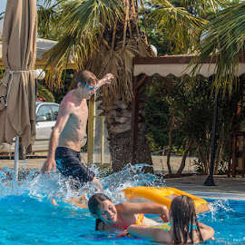 walk on water by Vibeke Friis - People Street & Candids ( pool, children, man,  )