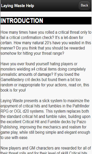Laying Waste: Critical Hit App - screenshot
