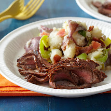 Marinated Grilled Flank Steak with BLT Smashed Potatoes