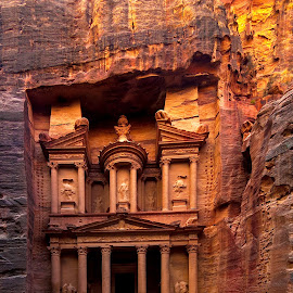 Treasury in Petra by Jerry ME Tanigue - Buildings & Architecture Public & Historical ( archaeological, unesco world heritage site, nabaetans, jordan, columns, stone, architecture, travel, holiday, camel, tourist, ancient, carved stone, vacation, rock formations, historical, roman, treasury, ottoman, petra )