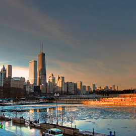 by Dipali S - City,  Street & Park  Neighborhoods ( skyline, winter, ice, sunset, buildings, lake, chicago, frozen, downtown )