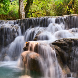 Rock Fall by Mark Gamblin - Landscapes Waterscapes ( water, laos, waterscape, movement, waterfall, asia, trees, long exposure, landscape, rocks,  )