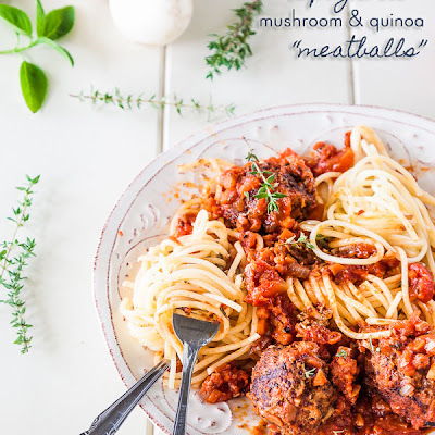Spaghetti And Mushroom And Quinoa Vegetarian Meatballs