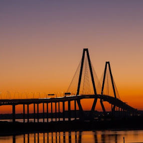 Arthur Ravenel, Jr. bridge by Daniel Gorman - Uncategorized All Uncategorized ( charleston, silhouette, sunset, ravenel bridge, bridge, sunrise, bridges, south carolina, , colorful, mood factory, vibrant, happiness, January, moods, emotions, inspiration, golden hour )