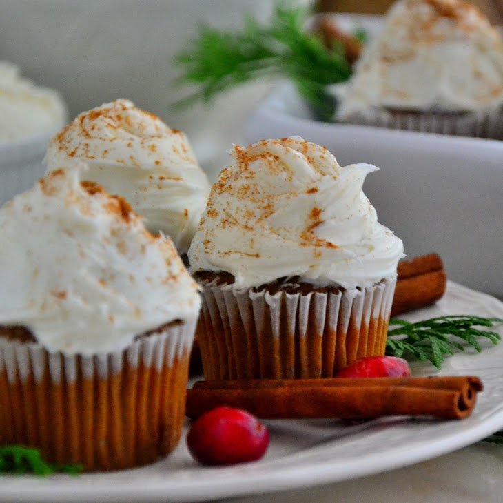 Gingerbread Cupcakes with Vanilla Cream Cheese Frosting Recipe ...