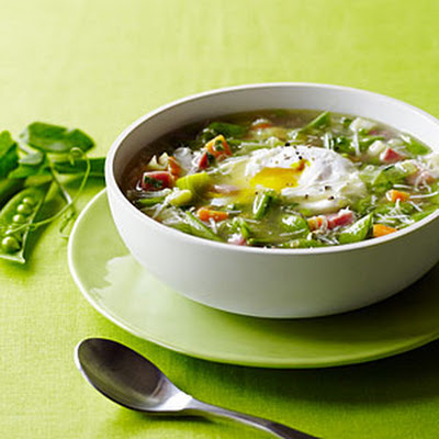 Snap Pea Minestrone with Poached Eggs