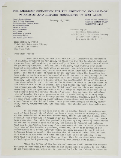 """Excerpt of letter from Dinsmoor to Miss Frick discussing the reliance of the ground and air forces on the """"Frick maps"""" and expressing thanks for the """"invaluable help and generous hospitality"""" offered to the Committee."""