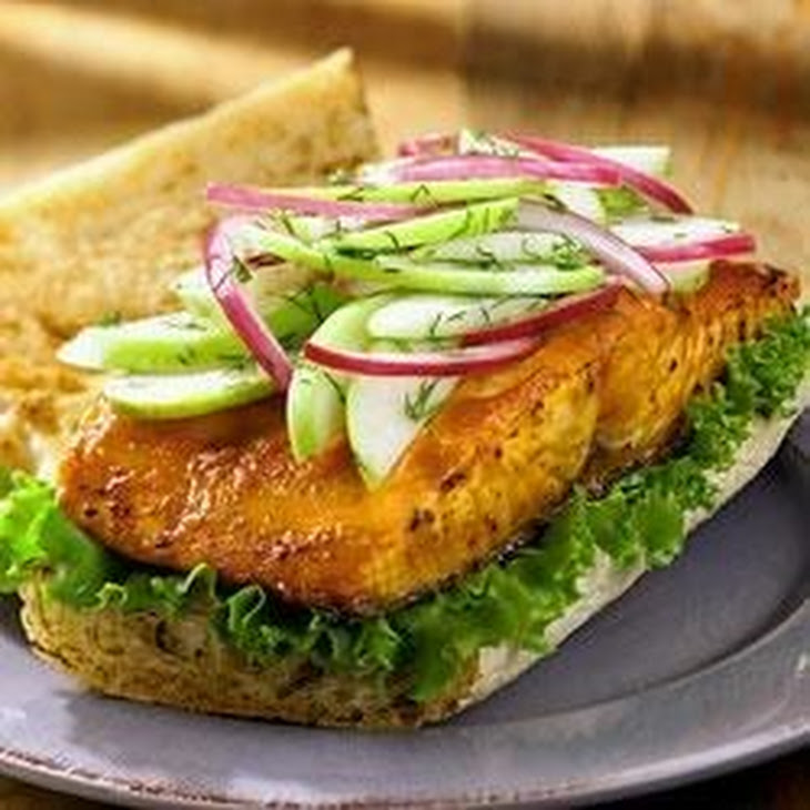 Grilled Salmon Sandwich with Green Apple Slaw Recipe | Yummly