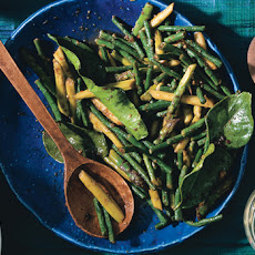 Stir-Fried Asparagus and Snake Beans with Chile Jam and Kaffir Lime