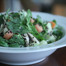 Arugula Salad with Roasted Chicken, Black Quinoa, and Lemon-Tahini Dressing