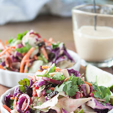 Crunchy Asian Slaw with Ginger-Tahini Dressing