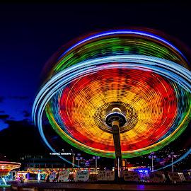 Twister by Samir Čeligija - City,  Street & Park  Amusement Parks ( twister, red, night photography, blue, haligali, green, long exposure )