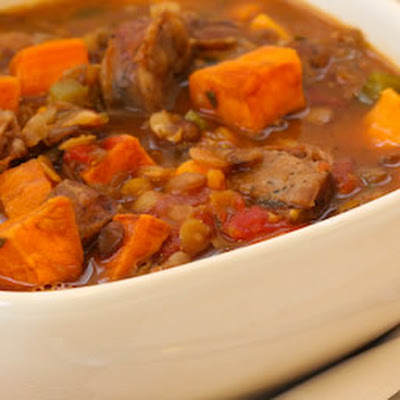Lentil and Roasted Sausage Soup Recipe with Sweet Potatoes and Herbs