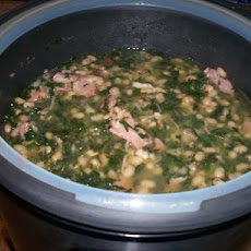 Pressure Cooker Ham and Beans With Spinach