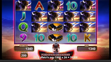 Screenshot of Buffalo Gold Video Slot Game