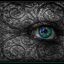 Visions In The Dark by Elizabeth Burton - Digital Art People ( detail, selective color, black and white, texture, beautiful, teal, halloween, macro, red, dark, swirls, surreal, eyeball, eye, visions )