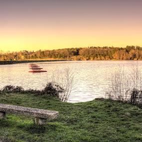 Lac de l'Uby by Marcel de Groot - City,  Street & Park  City Parks ( orange, barbotan, green, lake, france, pink, parc, public, bench, furniture, object )