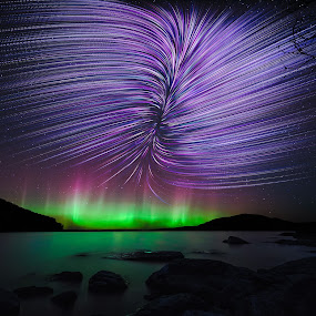 Rift Star Trails by Aaron Priest - Landscapes Starscapes ( reflection, mt. kineo, maine, rift, northern lights, aurora borealis, north bay, moosehead lake, noctophotography, timelapse, astrophotography, night, star trails, night sky )