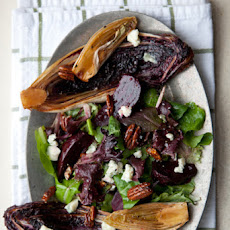 Grilled Bitter Greens Salad with Roasted Beets, Spiced Pecans & Roquefort