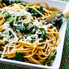 Whole Wheat Spaghetti with Garlic, Chard, and Grated Pecorino-Romano Cheese