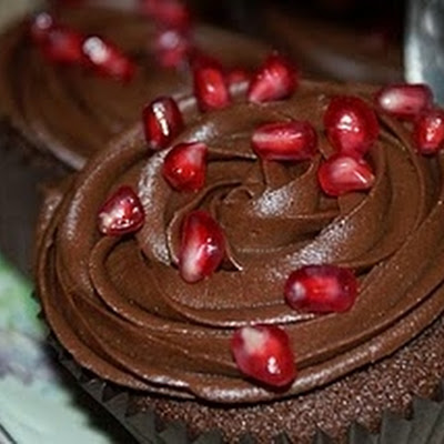 Chocolate & Pomegranate Cupcakes