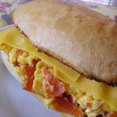 Scrambled Egg and Pepperoni Submarine Sandwich