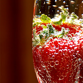 Strawberries and Bubble IV by Richard Timothy Pyo - Food & Drink Fruits & Vegetables