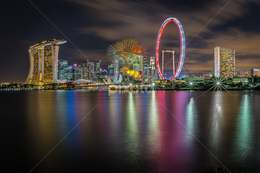 Happy birthday Singapore by GokulaGiridaran Mahalingam - City,  Street & Park  Skylines ( canon, water, 49, birthday, skyline, national day parade, ndp, national day, tall buildings, street & park, colors, 6d, singapore, colours, city, skyscraper, buildngs, fireworks, river )