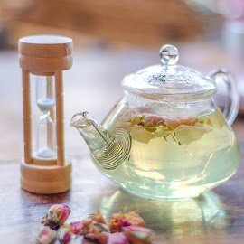 Time for Tea by Michelle Coyne - Food & Drink Alcohol & Drinks ( teapot, rosebud, time, timer, glass, tea,  )