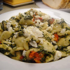 Orecchiette With Spinach, Roasted Red Pepper and Feta