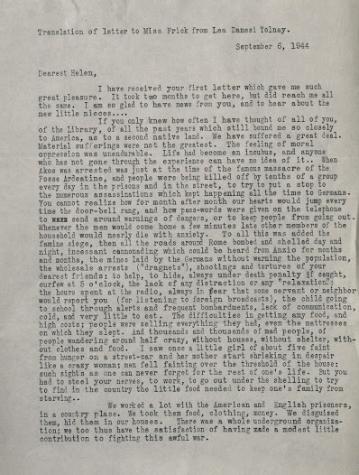 Letter from Lea Danesi Tolnay describing the suffering in Rome during wartime.