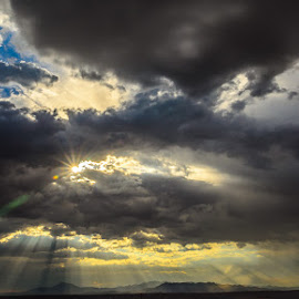 by Leslie Nu - Landscapes Cloud Formations ( stormy, mountains, desert, cloudscapes, landscapes, light, sun rays )