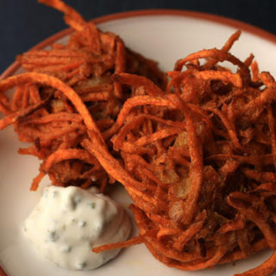 New Mexican Sweet Potato Latkes with Lime–Sour Cream Sauce