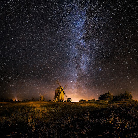Galaxy Rising by Jörgen Tannerstedt - Landscapes Starscapes ( sweden, stars, astrophotography, night, wind mill, windmill, nightscape, galaxy, öland, milky way )