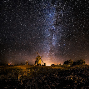 Galaxy Rising by Jörgen Tannerstedt - Landscapes Starscapes ( sweden, stars, night, astrophotography, wind mill, windmill, milky way, galaxy, nightscape, öland,  )