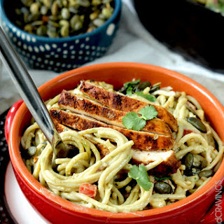 Creamy Baja Avocado Pasta (with Chili Lime Chicken)