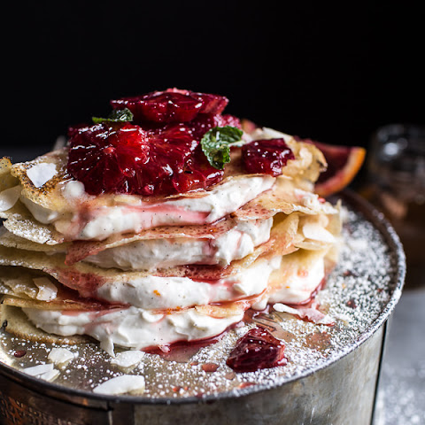 Coconut Honey Crepes with Whipped Mascarpone + Blood Orange Compote.