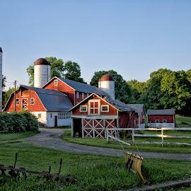Red Barn by Rachel Ellentuck - Landscapes Prairies, Meadows & Fields ( red barn, farmland, farmhouse, landscape photography, landscapes )