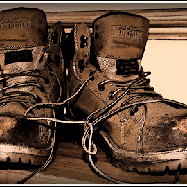 Papa's Workboots by Rita Colantonio - Artistic Objects Clothing & Accessories ( old work boots, shoes, sepia, artistic, object )