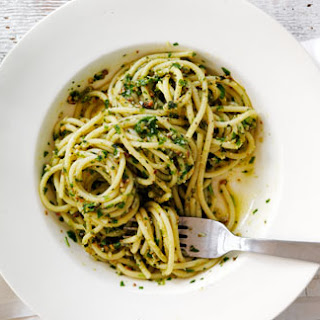 Spaghetti With Quick Watercress, Spinach And Rocket Pesto